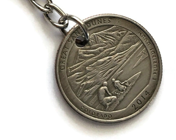 2014 Colorado Quarter Keychain Handmade Great Sand Dunes National Park - Parks and Recreation Gift State Stainless Steel Key Chain Lanyard