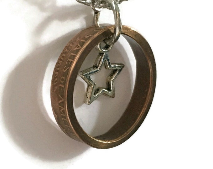 Pre-1982 US Copper Lucky Penny Coin Ring Necklace with Star - Antiqued