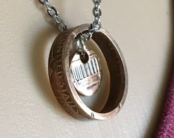 1975 Copper Lincoln Lucky Penny Coin Ring Necklace with Center Punch - Antiqued OOAK Jewelry - Pennies from Heaven - Cosplay Dark Souls