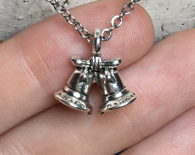"""Holiday Christmas Bells Necklace on Stainless Steel 18"""" Cable Chain Tibetan Silver"""