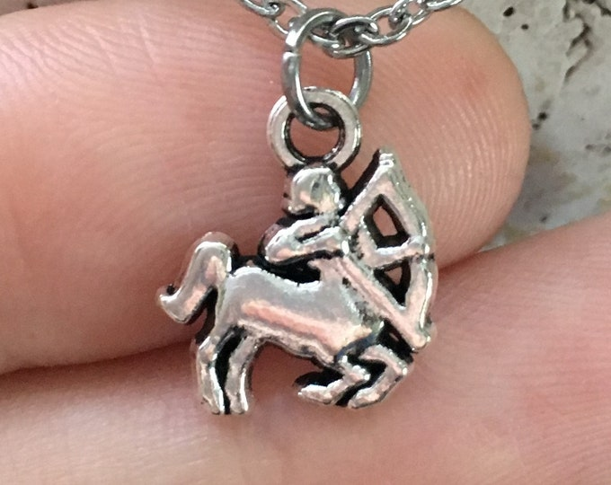 "Sagittarius Zodiac Necklace on Stainless Steel 18"" Cable Chain Tibetan Silver Horoscope Astrology"