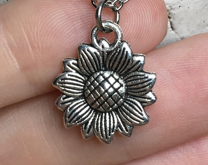 """Sunflower Necklace on Stainless Steel 18"""" Cable Chain Tibetan Silver"""
