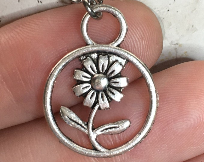 "Flower in a Circle Necklace Charm on Stainless Steel 18"" Cable Chain Tibetan Silver"
