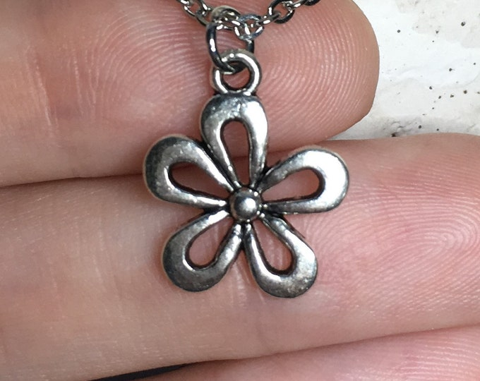 """Flower Necklace Charm on Stainless Steel 18"""" Cable Chain Tibetan Silver Handmade Jewelry"""