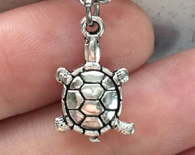 "Turtle Tortoise Necklace Charm on Stainless Steel 18"" Cable Chain Tibetan Silver Jewelry"