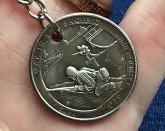 2019 Guam Quarter Keychain Handmade War in the Pacific National Park Quarter - Parks and Recreation Gift - State Ornament Key Chain