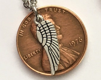 2010-2020 Lucky Lincoln Penny Necklace with Angel Wing - Pennies from Heaven - Birth Year Gift - Memorial Remembrance Handmade Jewelry
