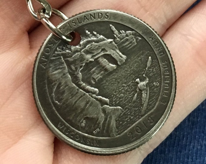 2018 Wisconsin Quarter Keychain Handmade Apostle Islands National Lakeshore - Parks and Recreation Gift - State Ornament - Key Chain