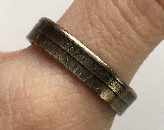 2013 Maryland US State National Parks Quarter Coin Ring - Antiqued - Sealed - Gothic Cosplay - Parks and Recreation Fort McHenry