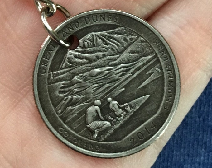 2014 Colorado Quarter Keychain Handmade Great Sand Dunes National Park - Parks and Recreation Gift
