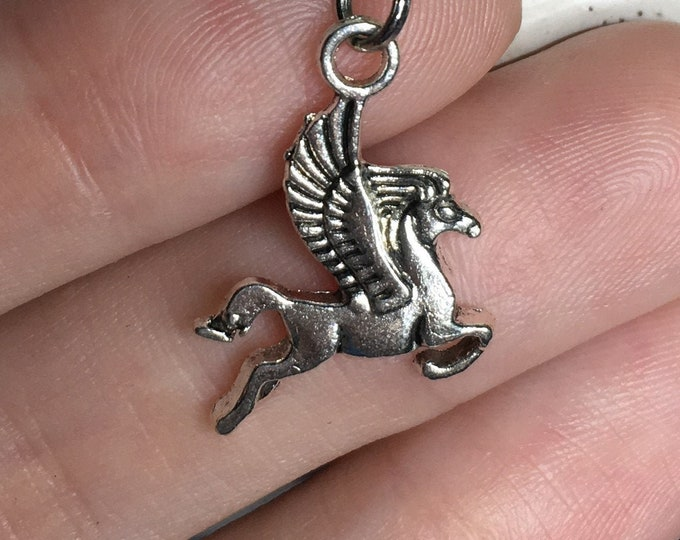 """Flying Pegasus Pendant Necklace on Stainless Steel 18"""" Cable Chain Tibetan Silver Handmade"""
