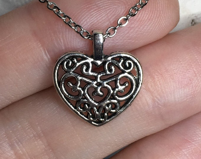 """Filigree Heart Necklace on Stainless Steel 18"""" Cable Chain Tibetan Silver"""