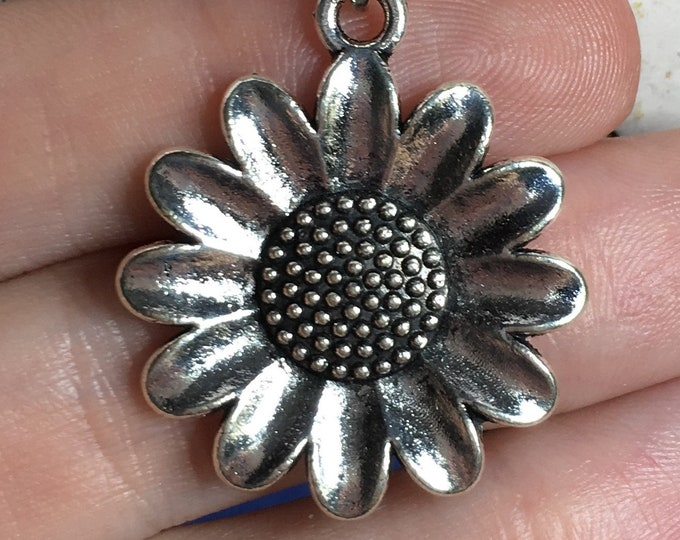 """Large Flower Necklace on Stainless Steel 18"""" Rope Chain Tibetan Silver Handmade"""