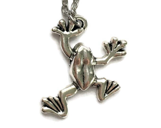 Hanging Frog Necklace on Stainless Steel Cable Chain Tibetan Silver - Tree - Toad