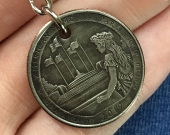 2019 North Mariana Islands Quarter Keychain Handmade American Memorial Park - Parks and Recreation