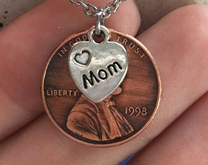 1959-2008 Handmade Lucky Penny with Tibetan Silver Mom Heart Remembrance Necklace - Pennies from Heaven - Birth Year Gift