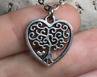 Tree of Life Heart Necklace on a Stainless Steel Cable Chain Tibetan Silver Family Love Statement Jewelry