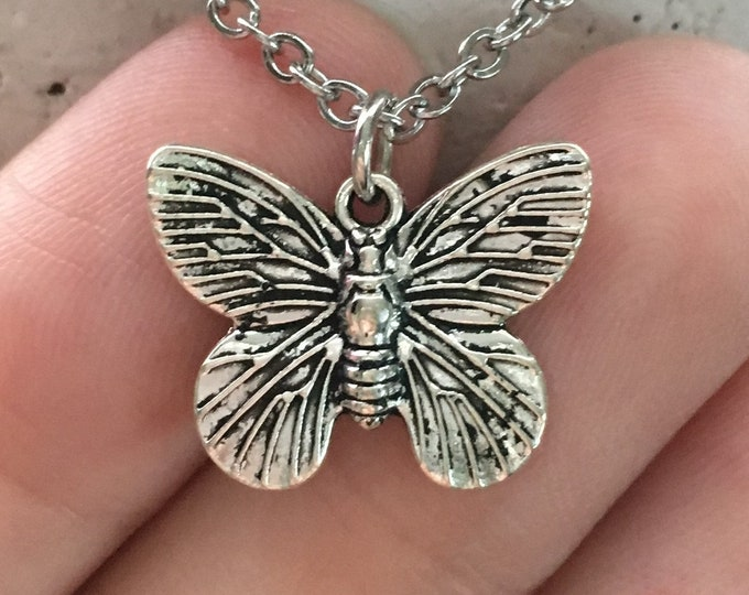 """Butterfly Necklace on Stainless Steel 18"""" Cable Chain Tibetan Silver"""