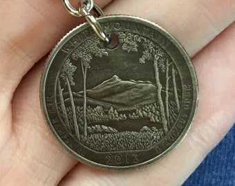 2013 New Hampshire Quarter Keychain Handmade White Mountain National Forest Park - Parks and Recreation Gift