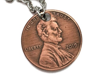 2010-2021 Handmade Lucky Lincoln Penny Necklace - OOAK Jewelry - Pennies from Heaven - Birth Year - Anniversary Stainless Steel Copper