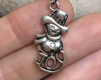 "Holiday Christmas Snowman Necklace on Stainless Steel 18"" Cable Chain Tibetan Silver"