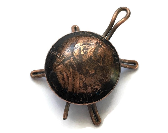 2017 Miniature Antiqued Copper Penny Turtle Tortoise Coin Art Handmade Birth Year Financial Sculpture Memorial Reptile Figurine Vintage Gift