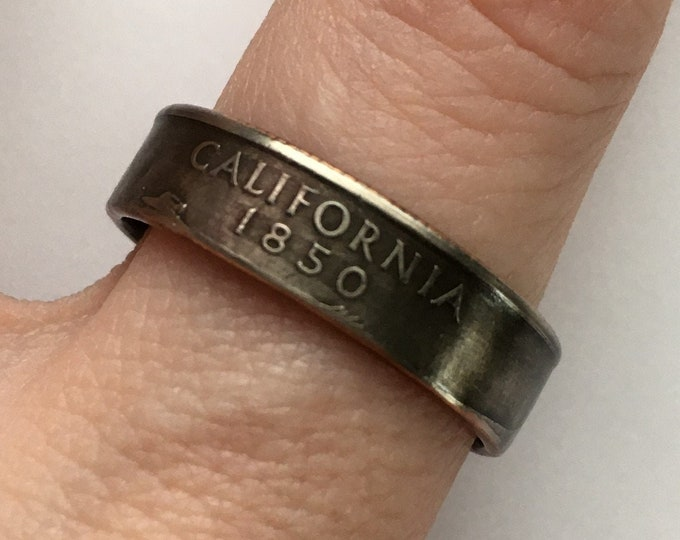 2005 California US State Quarter Coin Ring - Antiqued - Sealed - Gothic BOHO - Dark Souls Supernatural Cosplay