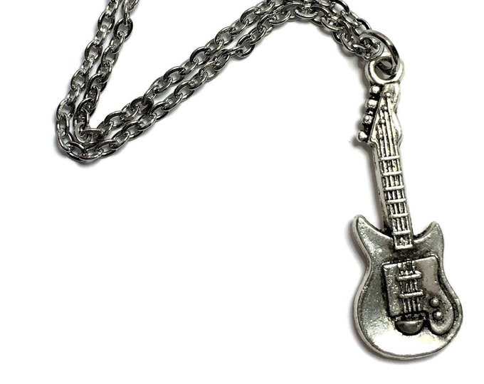Electric Guitar Necklace Charm on Stainless Steel Cable Chain Tibetan Silver Jewelry Music Musician Metal Pendant