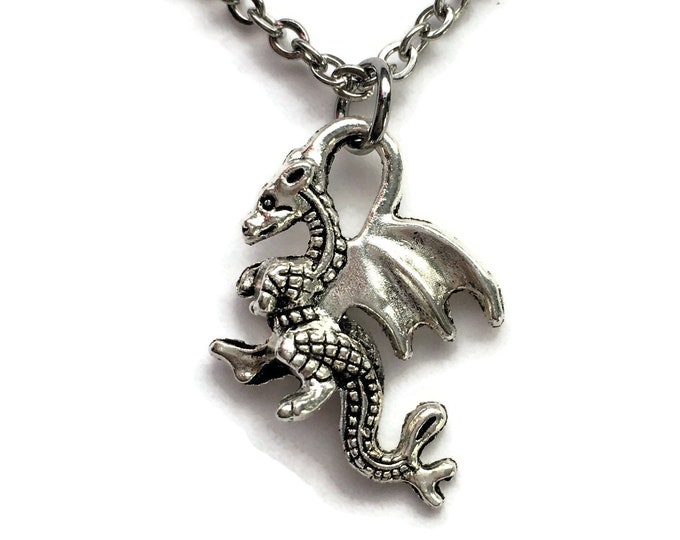 """Dragon Pendant Necklace on Stainless Steel 18"""" Cable Chain Tibetan Silver Handmade"""