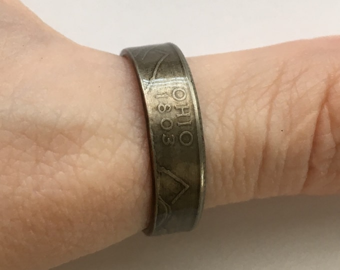 2002 OHIO US State Quarter Coin Ring - Antiqued - Sealed - Gothic Dark Souls Supernatural Cosplay