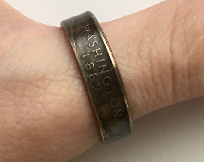 2007 Washington US State Quarter Coin Ring - Antiqued - Sealed - Gothic Dark Souls Supernatural Cosplay