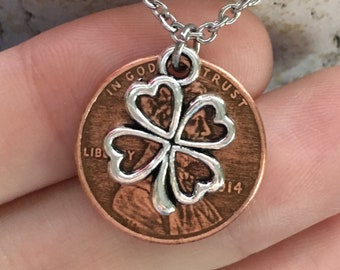 2010-2019 Handmade Lucky Lincoln Penny Necklace with Silver 4 Leaf Clover - Pennies from Heaven - Birth Year