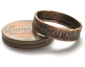 Pre-1982 US Copper Lucky Lincoln Penny Vintage Coin Ring Sealed - Antiqued OOAK Jewelry - Pennies from Heaven - Birth Year