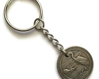 2015 Delaware Quarter Keychain Handmade Bombay Hook National Wildlife Refuge - Parks and Recreation - Stainless Steel Coin Key chain