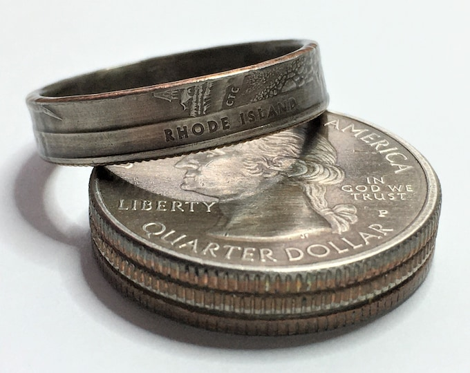 2018 Rhode Island US State National Parks Quarter Coin Ring - Antiqued - Sealed - Gothic Cosplay - Parks and Recreation Block Island