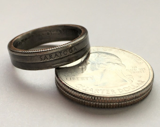2015 New York US State National Parks Quarter Coin Ring - Antiqued - Sealed - Gothic Supernatural Cosplay - Parks and Recreation Saratoga