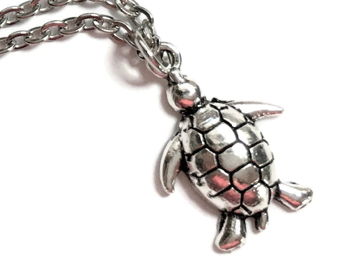 "Turtle Tortoise Necklace on Stainless Steel 18"" Cable Chain Tibetan Silver Ocean Sea Handmade Nautical Reptile"