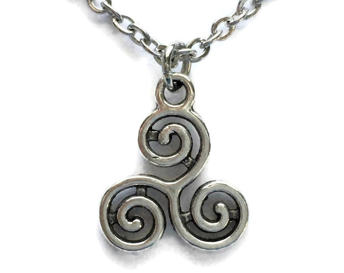 Triple Swirl Necklace Charm on Stainless Steel Cable Chain Tibetan Silver Jewelry Minimalist Jewelry Cyclone Whirlwind Triangle BOHO