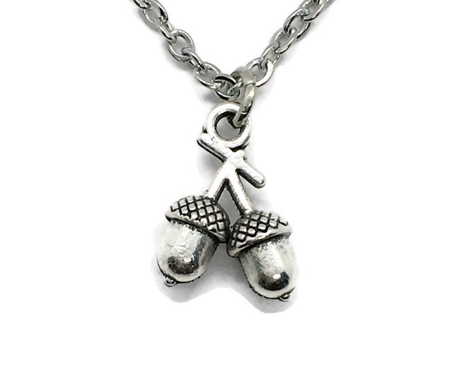 Acorns Charm Necklace on Stainless Steel Cable Chain Tibetan Silver Animal Tree Nature Pet Rodent Nut Squirrel Oak Jewelry