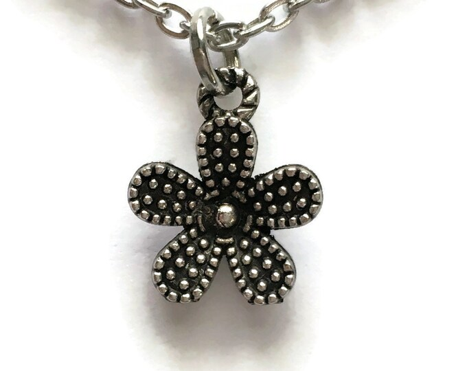 """Dainty Flower Necklace Charm on Stainless Steel 18"""" Cable Chain Tibetan Silver Handmade Jewelry"""
