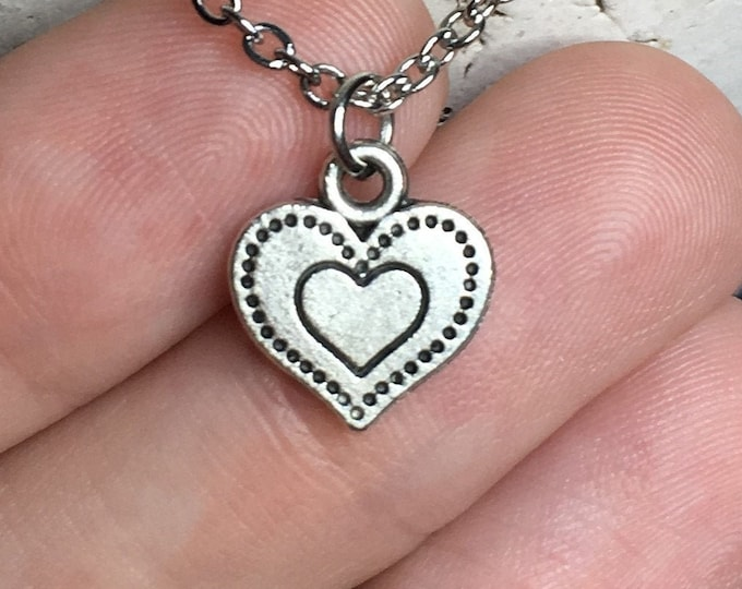 """Dainty Heart Necklace on Stainless Steel 18"""" Cable Chain Tibetan Silver"""