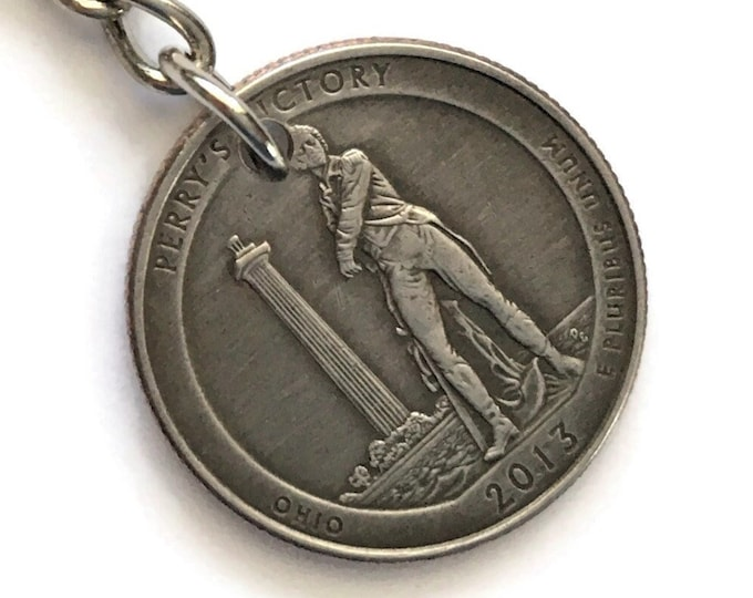 2013 Ohio Quarter Keychain Handmade Perry's Victory and International Peace Memorial Park - Parks and Recreation - State Ornament Key Chain