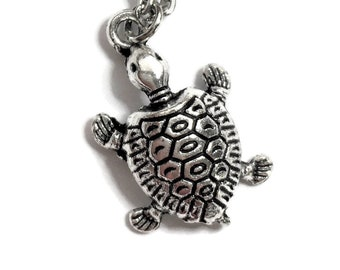 """Turtle Tortoise Necklace on Stainless Steel 18"""" Cable Chain Tibetan Silver Ocean Sea Handmade Nautical Reptile BOHO"""