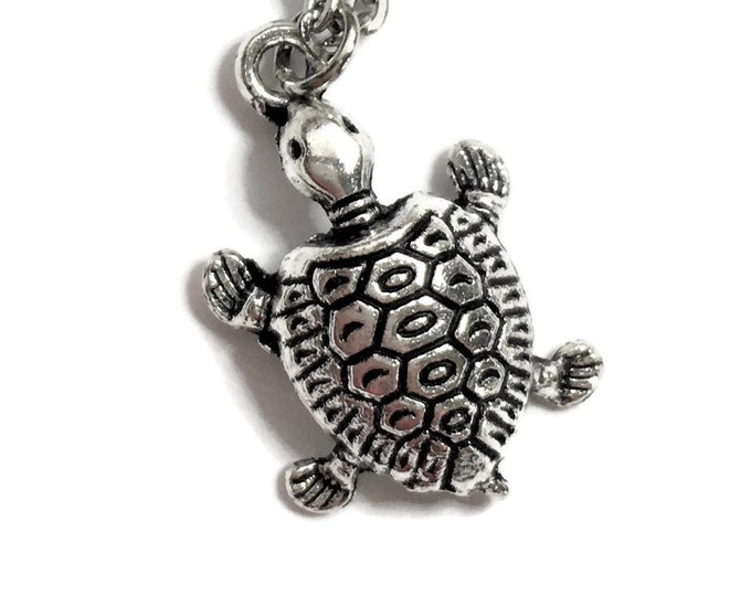 "Turtle Tortoise Necklace on Stainless Steel 18"" Cable Chain Tibetan Silver Ocean Sea Handmade Nautical Reptile BOHO"