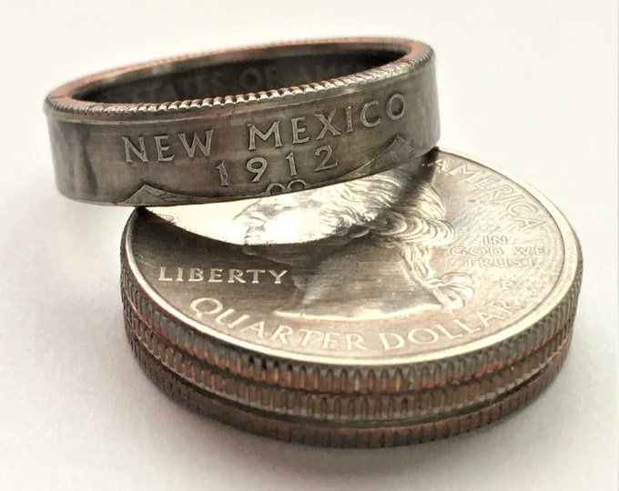2008 New Mexico US State Quarter Coin Ring - Antiqued - Sealed - Gothic BOHO - Dark Souls Supernatural Cosplay