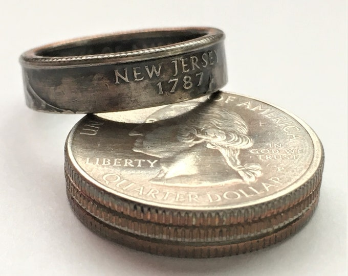 1999 New Jersey US State Quarter Coin Ring - Antiqued - Sealed - Gothic BOHO - Dark Souls Supernatural Cosplay