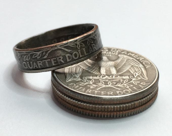 1965-1998 US Washington Quarter Coin Ring - Vintage - Sealed - Gothic Dark Souls Supernatural Cosplay - Birth Year Gift