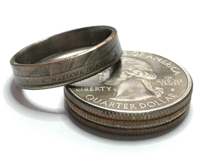 2019 North Mariana Islands US National Park Quarter Coin Ring - Antiqued - Sealed - Gothic Cosplay - Parks and Recreation American Memorial