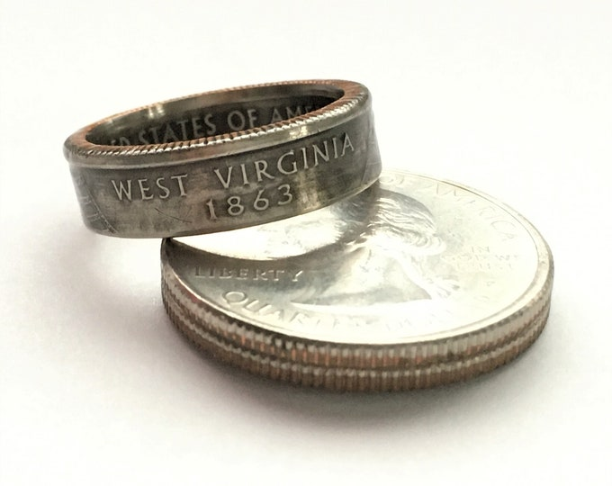 2005 West Virginia US State Quarter Coin Ring - Antiqued - Sealed - Gothic Dark Souls Supernatural Cosplay