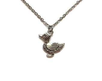 "Duck Necklace on Stainless Steel 18"" Cable Chain Tibetan Silver - BOHO Statement Jewelry Charm Pendant Duckling Mallard Baby"